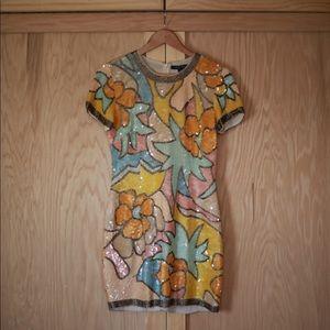 Floral Sequin Mini Dress